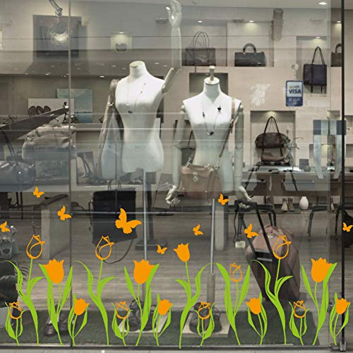 XCWQ Women'S Armband Tulpen Stijl Glas Sticker Bloemen Vlinders Muurstickers Voor Woonkamer Kleuterschool Shop Raamdecoratie