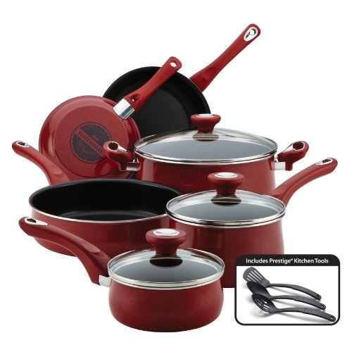 Farberware New Traditions Nonstick Cookware Pots and Pans Set, 12-Piece, Red Speckle