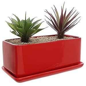 Silk Flower Arrangements 10 inch Rectangular Modern Minimalist Red Ceramic Succulent Planter Pot/Window Box with Saucer