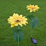 SUFUBAI - 2 luci da giardino a girasole, a energia solare, per esterni, decorazione per esterni, decorazione per vialetti, giardino, cortile, piscina