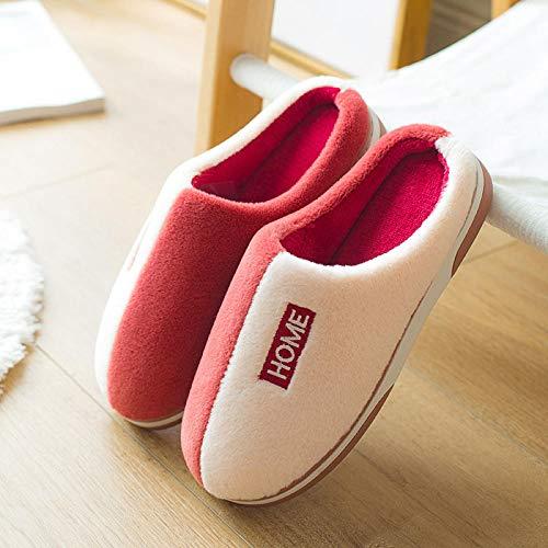 lanying Casa Zapatos Antideslizante Pantuflas Zapatillas Mujer otoño e Invierno Espesar cálido hogar, Interior hogar Zapatillas Antideslizantes para Hombres y Mujeres-Rojo_40/41
