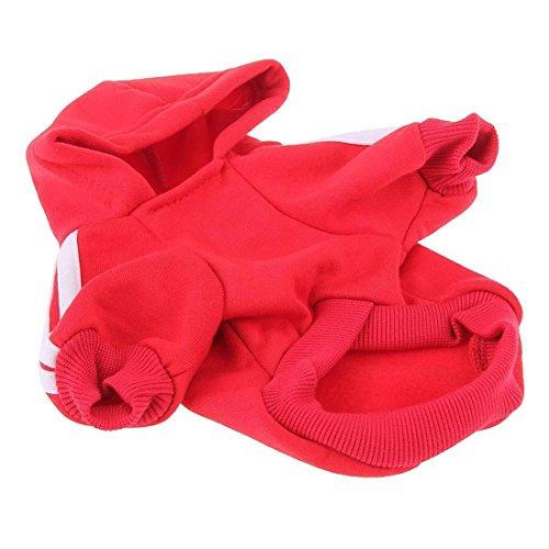 Manteau Vêtement à Capuche Chaud de Sport pour Animaux Chien Chat?Rouge L