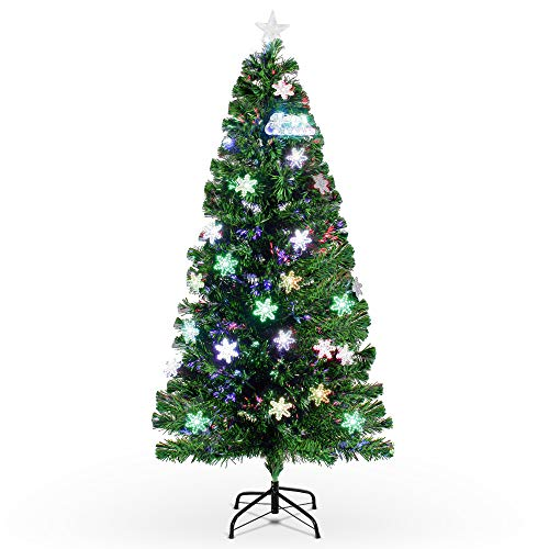 BELLEZE Pre-Lit Fiber Optic 7' ft Artificial Christmas Tree with LED Multicolor Prelit Lights Xmas and Stand
