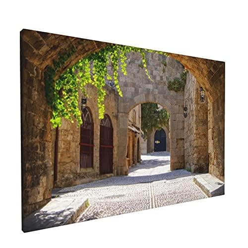 PATINISA Cuadro en Lienzo,Calle con arcos medievales en el casco antiguo de Rodas,Grecia,Impresión Artística Imagen Gráfica Decoracion de Pared