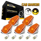 Partsam 5pcs Top Cab Marker Roof Running Light Amber Cover Lens 15442 + 5X 5050 T10 194 LED Bulbs Compatible...