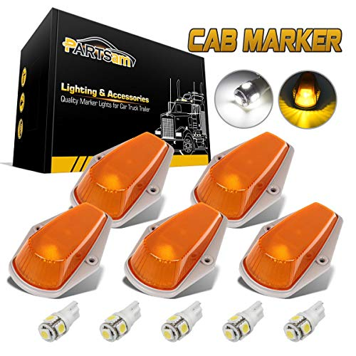 Partsam 5pcs Top Cab Marker Roof Running Light Amber Cover Lens 15442 + 5X 5050 T10 194 LED Bulbs Compatible with Ford F-150 F-250 F-350 1973-1997 F Series Pickup Super Duty Trucks.