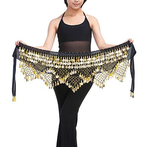 Guiran Mujer Monedas Lentejuelas Profesional Danza del Vientre Cadena Cinturon Falda Hip Bufanda