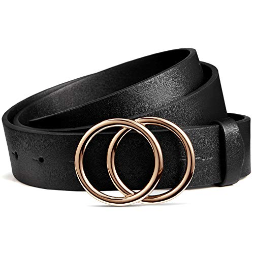 BROMEN Damen Ledergürtel Doppel O-Ring Schnalle Gürtel für Jeans Hosen Kleider, Schwarz 110 cm