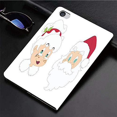Yilan Carcasa con Magnetic Auto-Sueño,Sr. Sra, Sr. y Sra. Papá Noel Habitantes del Polo Norte Personajes de Dibujo,Ligéra Protectora Suave Silicona TPU Smart Cover Case para iPad Air 1Air 2,
