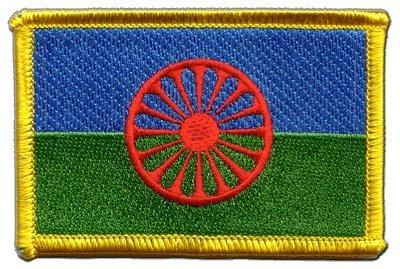 Flaggen Aufnäher Sinti und Roma Fahne Patch + gratis Aufkleber, Flaggenfritze®