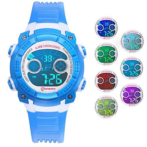 Reloj Digital para Niños Niñas, Reloj Infantil Deportivo 7 Colores Luz LED Multifuncional Impermeable 30 M Relojes de Pulsera para Exteriores con Alarma para Niños de 4 a 15 años. (Azul)