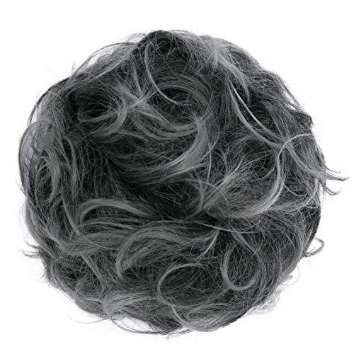 PRETTYSHOP XL Haarteil Haargummi Hochsteckfrisuren Brautfrisuren Voluminös Gelockt Unordentlich Dutt Aschgrau Mix G26E