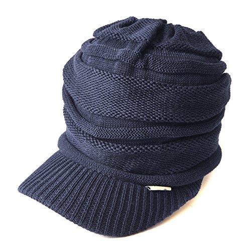 Casualbox - Bonnet en tricot à visière - Toute saison (été comme hiver) - Effet retombant - Bleu - Taille Unique