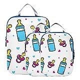 Reise-Organizer-Würfel Baby-Milchflasche Zarte Reiseverpackungswürfel Erweiterbares Reisezubehör für Gepäck für Handgepäck, Reise (3er-Set)