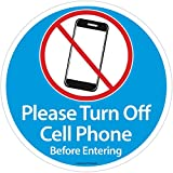 Please Turn Off Cell Phone Sign - Silence Cell Phone Sign - No Cell Phone Sign for Business - No Cell Phone Sticker Decal Cling - Approx. 5 inches by 5 inches (Available as 1 or 2 Pack) (1)