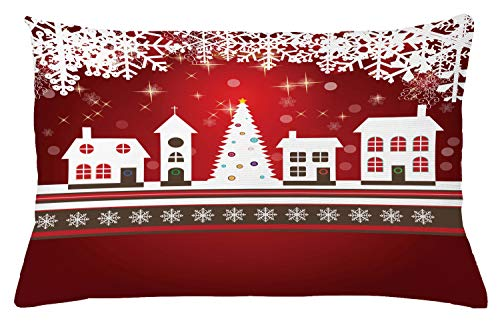 Christmas Throw Pillow Cushion Cover by Ambesonne, Winter Holidays Theme Gingerbread House with Trees and Snowflakes Artwork Print, Decorative Accent Pillow Case, 26 W X 16 L Inches, Red White