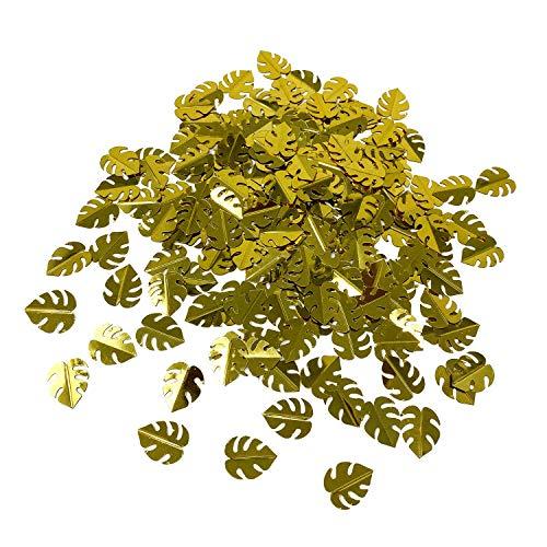 Oblique-Unique® Monstera Blätter Konfetti 300 Stk. für Geburtstag Feier Sommer Hawaii Party Tisch Deko Streudeko (Gold)