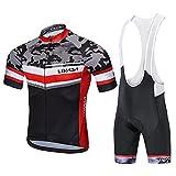 Lixada Traje de Ciclismo Hombre, Conjunto de Camiseta de Manga Corta MTB Transpirable para Verano y Otoño, Jersey + Pantalones Cortos y Babero Acolchado para Ciclismo (Camuflaje, 2XL)
