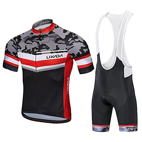 Lixada Traje de Ciclismo Hombre, Conjunto de Camiseta de Manga Corta MTB Transpirable para Verano y Otoño, Jersey + Pantalones Cortos y Babero Acolchado para Ciclismo (Camuflaje, M)