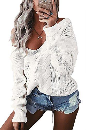 YOINS Oversize Pullover Damen Strickpullover Damen Sexy Off Shoulder Langarmshirt Schulterfrei V-Ausschnitt Causal T-Shirt,Aktualisierung-weiß,L