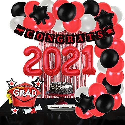 ORIENTAL CHERRY Graduation Party Supplies - Decorations 2021 Red Black White - Foil Balloons Fringe Curtain Congrats Grad Banner - Class of 2021 Kindergarten High School Preschool Decor