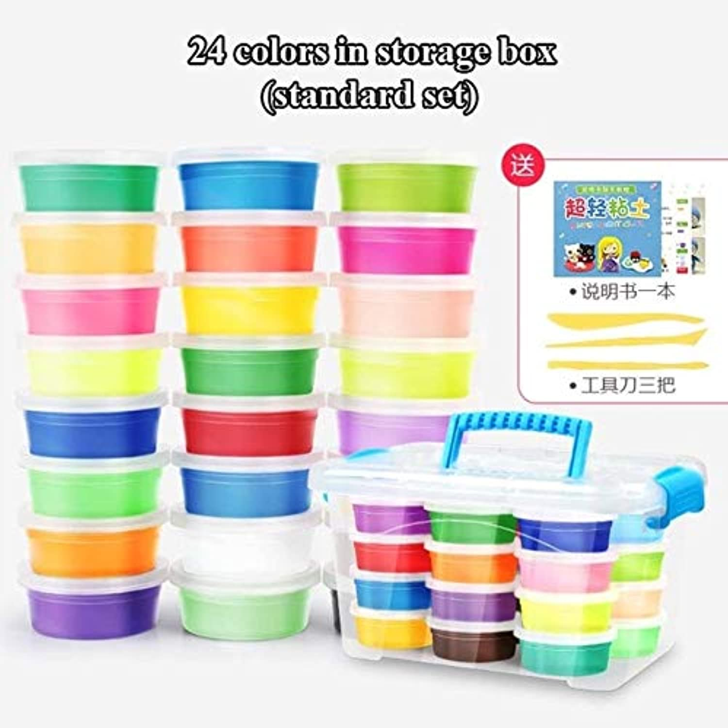 Laliva 24colors Modeling Clay Super Light Polymer Clay Air Dry Play Dough Intelligent Plasticine Light Plasticine Playdough Clay - (color  24color Standard A)
