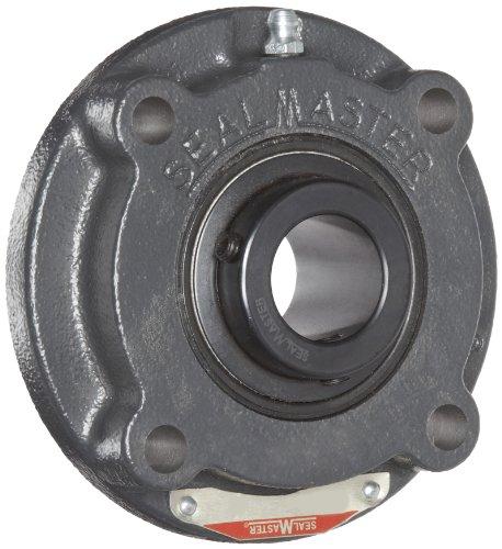 Sealmaster MFC-40 Medium Duty Piloted Flange Cartridge, 4 Bolt, Regreasable, Felt Seals, Setscrew Locking Collar, Cast Iron Housing, 2-1/2