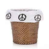 """Peace Sign Decorative Plastic Wastebasket Trash Can Liner Bags - 10 Count - 17"""" x 19"""" - 5-6 Gallon Size"""