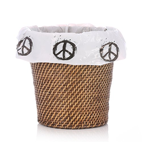 "Peace Sign Decorative Plastic Wastebasket Trash Can Liner Bags - 10 Count - 17"" x 19"" - 5-6 Gallon Size"