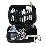 Snuff Kits Container Tools Accessories,Snuff Bullet Necklace with Spoon,Mini Funnel,Glass Dispenser,11Pcs Snorting Kit with Case (Black)