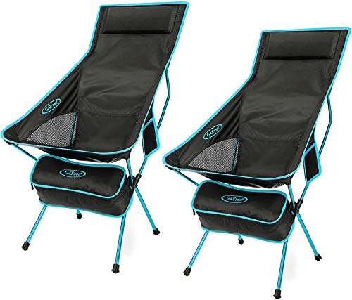 G4Free Upgraded Outdoor 2 Pack Camping Chair Portable Lightweight Folding Camp Chairs with Headrest & Pocket High Back High Legs for Outdoor Backpacking Hiking Travel Picnic Festival (Blue)