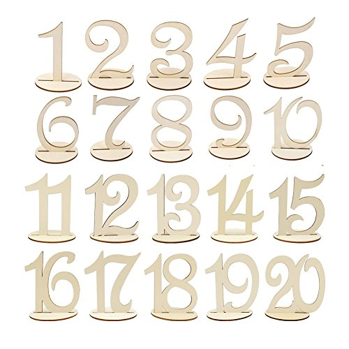 Wskderliner Numeros para Mesas de Bodas 1 A 20 Números para Artesanía en Madera Decoración de Mesa para Fiesta de…