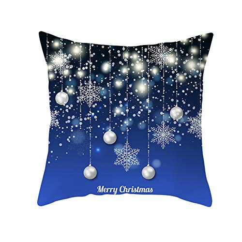 Z&HA Merry Christmas Pillow Cushion Cover,Christmas Bells And Snowflakes Cotton Linen Cushion Covers Home Decorative Xmas Throw Pillowcases 18X18inch,6