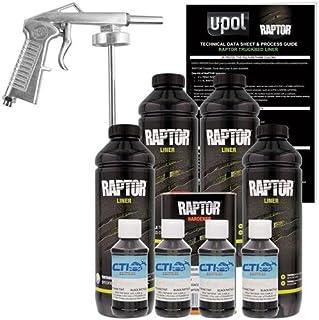 RAPTOR U-POL Black Metallic Urethane Spray-On Truck Bed Liner & Texture Coating W/Free Spray Gun, 4 Liters