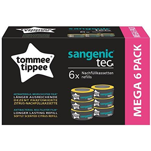 Tommee Tippee Lot de 6 cassettes-recharges Sangenic tec accessoires pour seau à couches, blanc