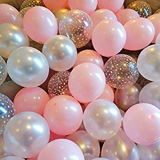 BALONAR 90pcs 12inch Pink White and Star Printed Latex Balloon for Birthday Party Decoration Baby Shower Supplies Wedding Ceremony Balloon Anniversary Decorations Arch Balloon Tower