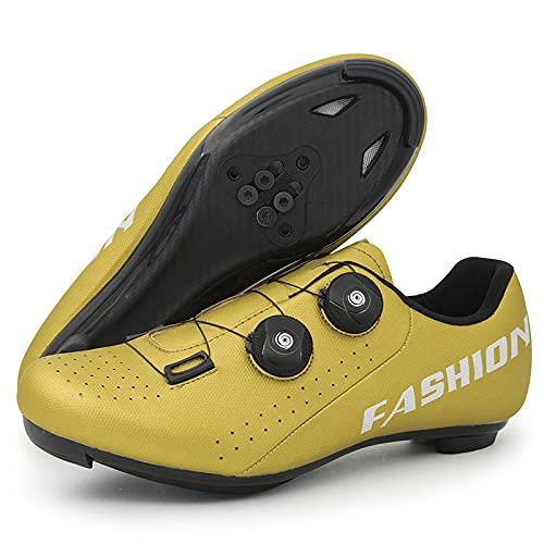 KUXUAN Calzado de Ciclismo para Hombre Compatible con Bicicleta de Montaña de Carretera con SPD/SPD-SL y Tacos de Bloqueo,Hebilla Giratoria Rápida,D-11UK=(275mm)=45EU