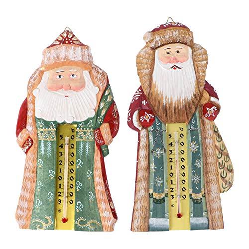 PRETYZOOM 2 Stück Weihnachtsthermometer Landhausstil Holz Santa Figur Ornament Vertikale Wand Hygrometer Temperaturanzeige Monitor für Urlaub Baum Home Tür Dekor