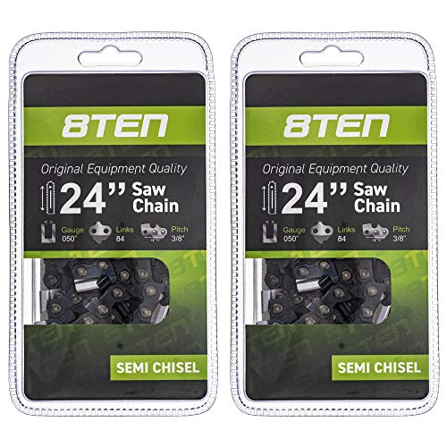 8TEN Chainsaw Guide Bar and 2 Chains for Stihl MS 029 046 270 290 310 440 461 3003 000 8830 24 inch .050 .375 84DL