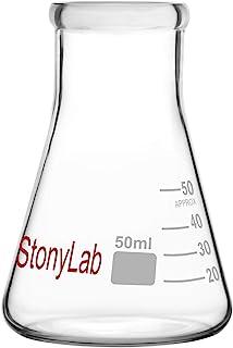 stonylab 1-Paquete 50ml Matraz Erlenmeyer de Boca Estrecha, Erlenmeyer Flasks de Cristal de Pared Gruesa con Borde de Alta Resistencia - (50ml Ajusta con el Tapón de Goma StonyLab 4#)