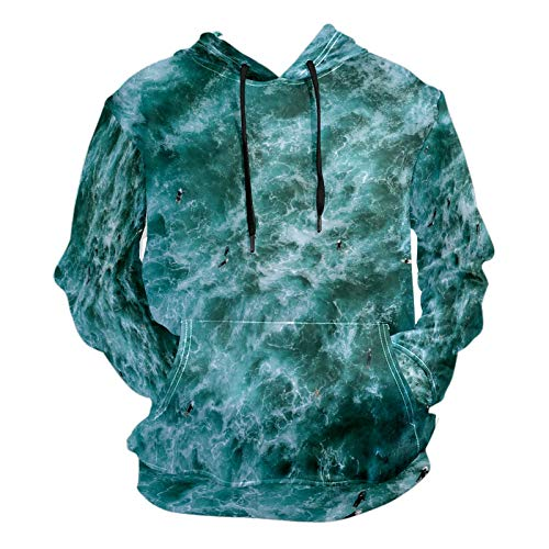 Moda impresión 3D mar surf patrón verde unisex suéter fresco sudaderas con bolsillo canguro para hombres y mujeres