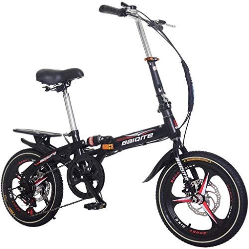 """20\""""Faltrad mit Variabler Geschwindigkeit, Faltrad für Erwachsene und Kinder, 7-Gang-Getriebesystem, geringes Gewicht, leicht zu Falten, Sattel/Griff höhenverstellbar (Black)"""