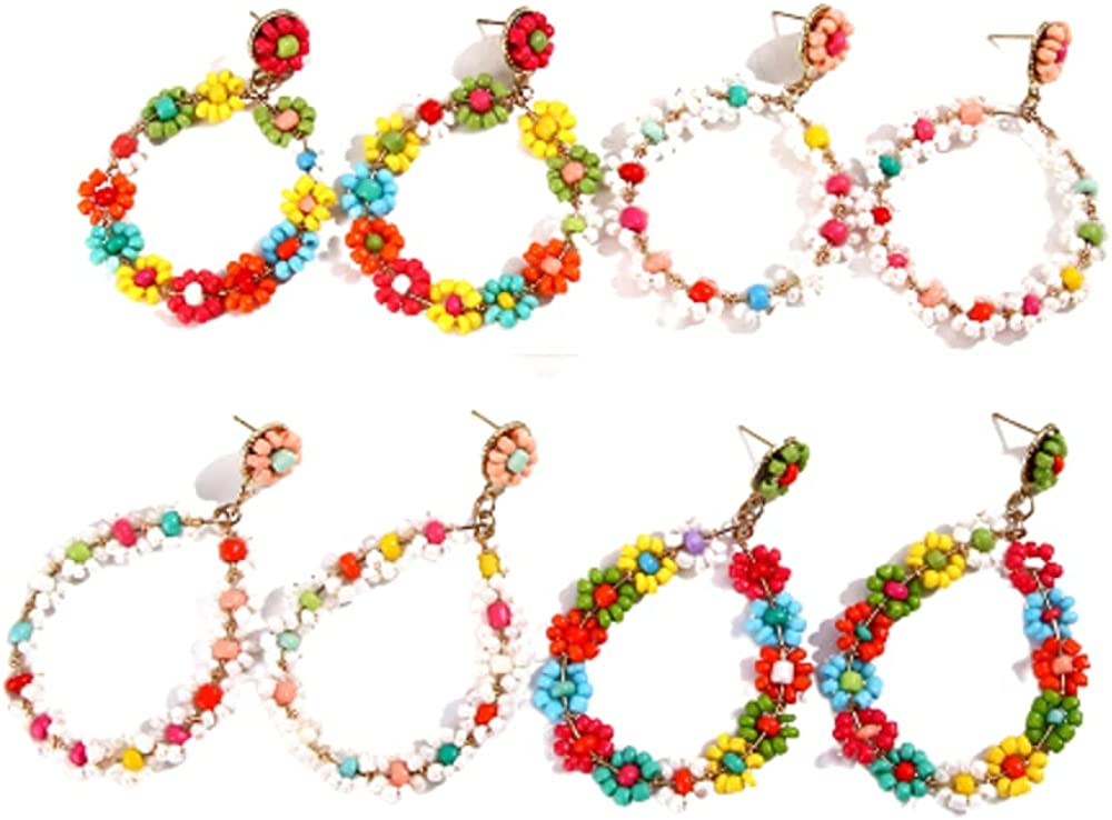 4 Pairs Bohemian Beaded Earrings Handmade Multicolored Seed Bead Earrings Bohemian Circle Round Earrings Rainbow Seed Beads Geometric Hollow Circle Dangle Drop Earrings