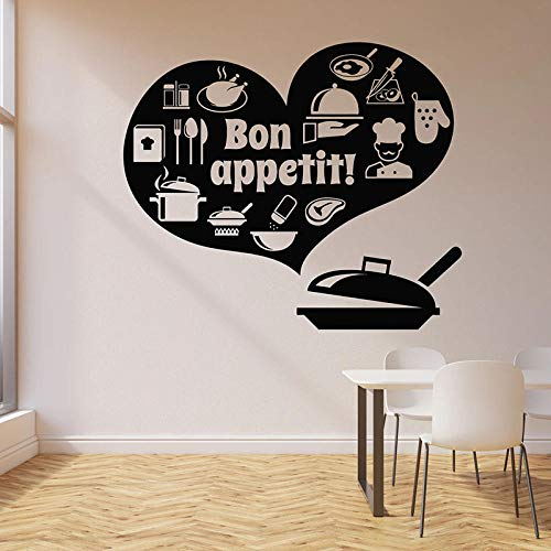 JFZJFZ Pegatinas de pared Bon Appetit calcomanía de vinilo para pared decoración del hogar dormitorio sala de estar pegatinas de arte extraíbles 42x49 cm