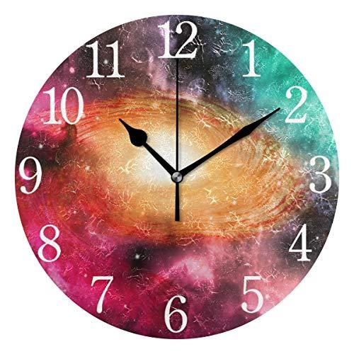 Mnsruu - Reloj de pared redondo en espiral con diseño de galaxia, pintura al óleo silenciosa para dormitorio, sala de estar, oficina, escuela, decoración del hogar