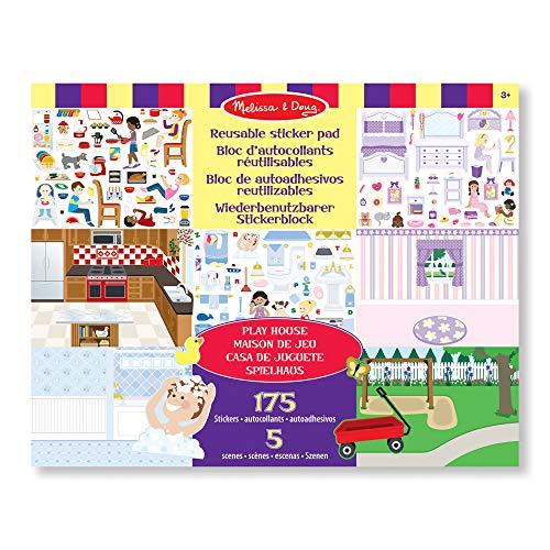 Melissa&Doug wiederverwendbares Stickerbrett – Spielhaus | Aktivitätsbrett | Stickerbrett | 3+ | Geschenk für Jungen oder Mädchen