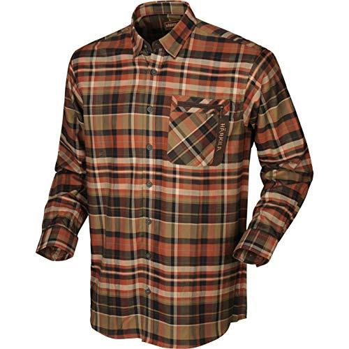Härkila Newton L/S shirt Donker verbrand oranje check S