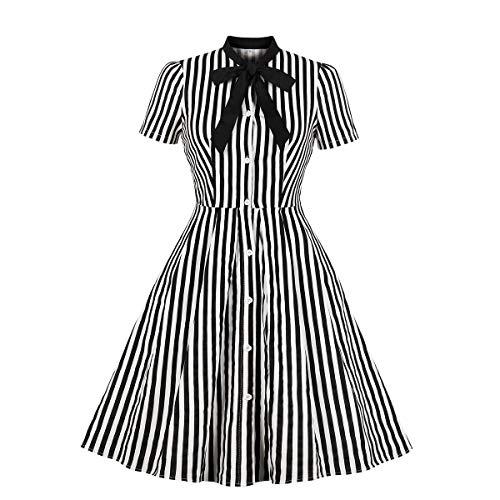 Wellwits - Vestido vintage para mujer, diseño de rayas, con botones - Negro - 40-42