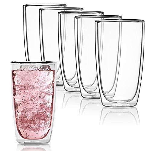 Dimono Doppelwandiges Trinkglas 450ml Wasserglas Glas doppelwandig Latte Macchiato Longdrink-Gläser (6 Stück)