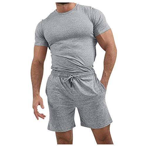 XUEBing Los hombres de verano de 2 piezas conjuntos de chándal casual playa de manga corta camisas y pantalones cortos conjuntos de color soild ajuste regular